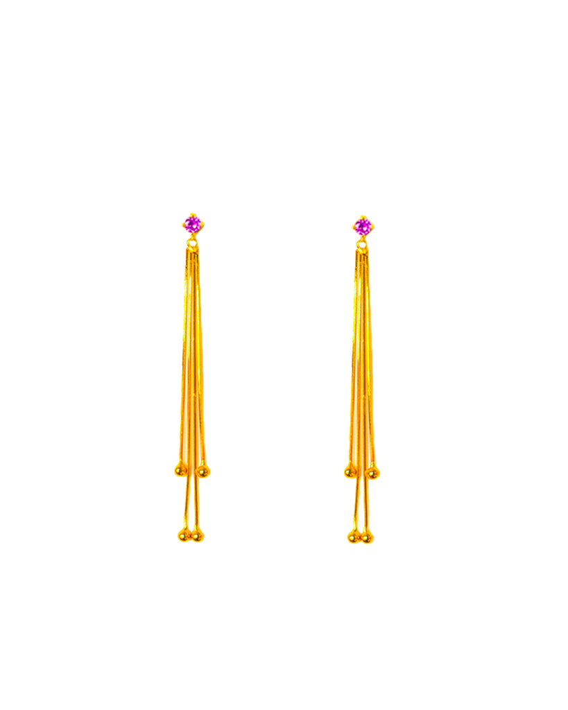 Alba Swing Drop Earrings - Purple