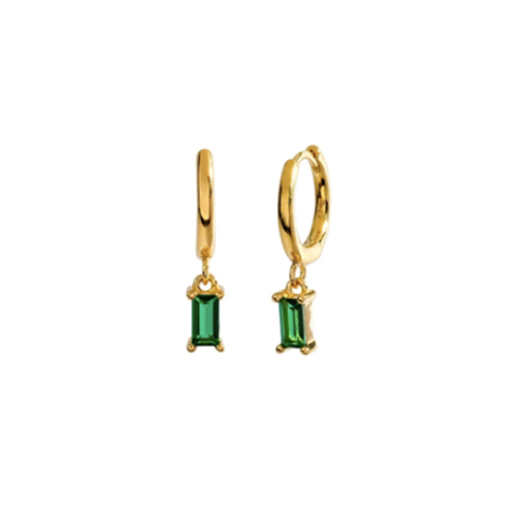 Crystal Drop Earrings - emerald