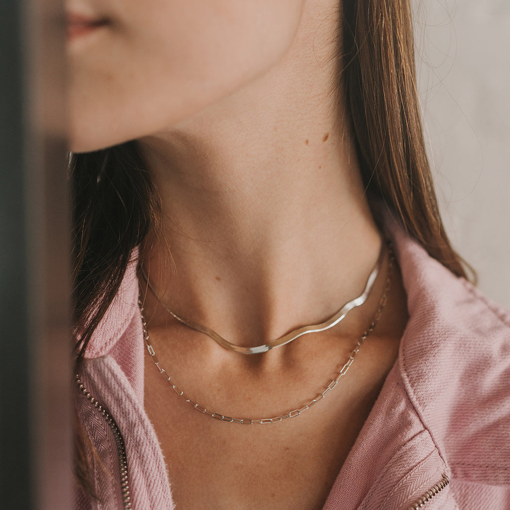 FLAT CHAIN SILVER NECKLACE