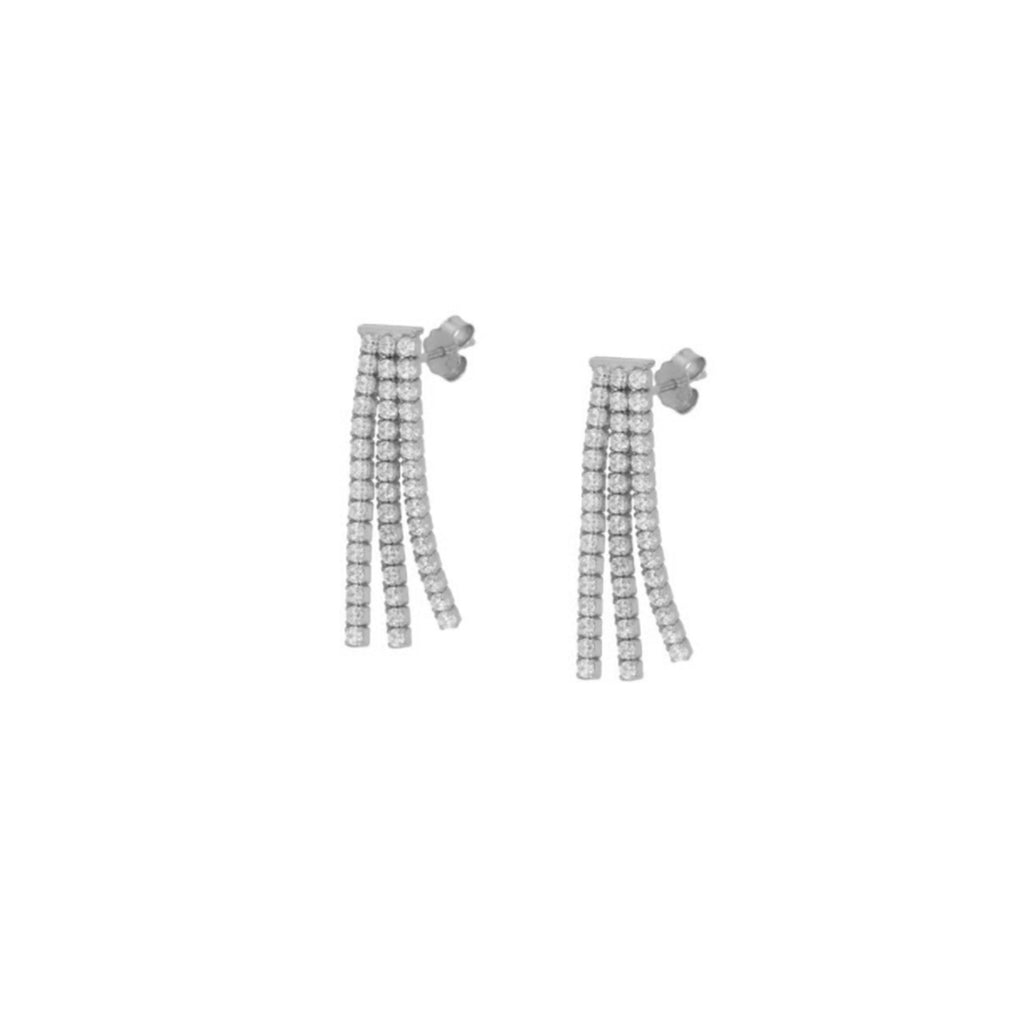 Tennis Chain Drop Earring - Silver