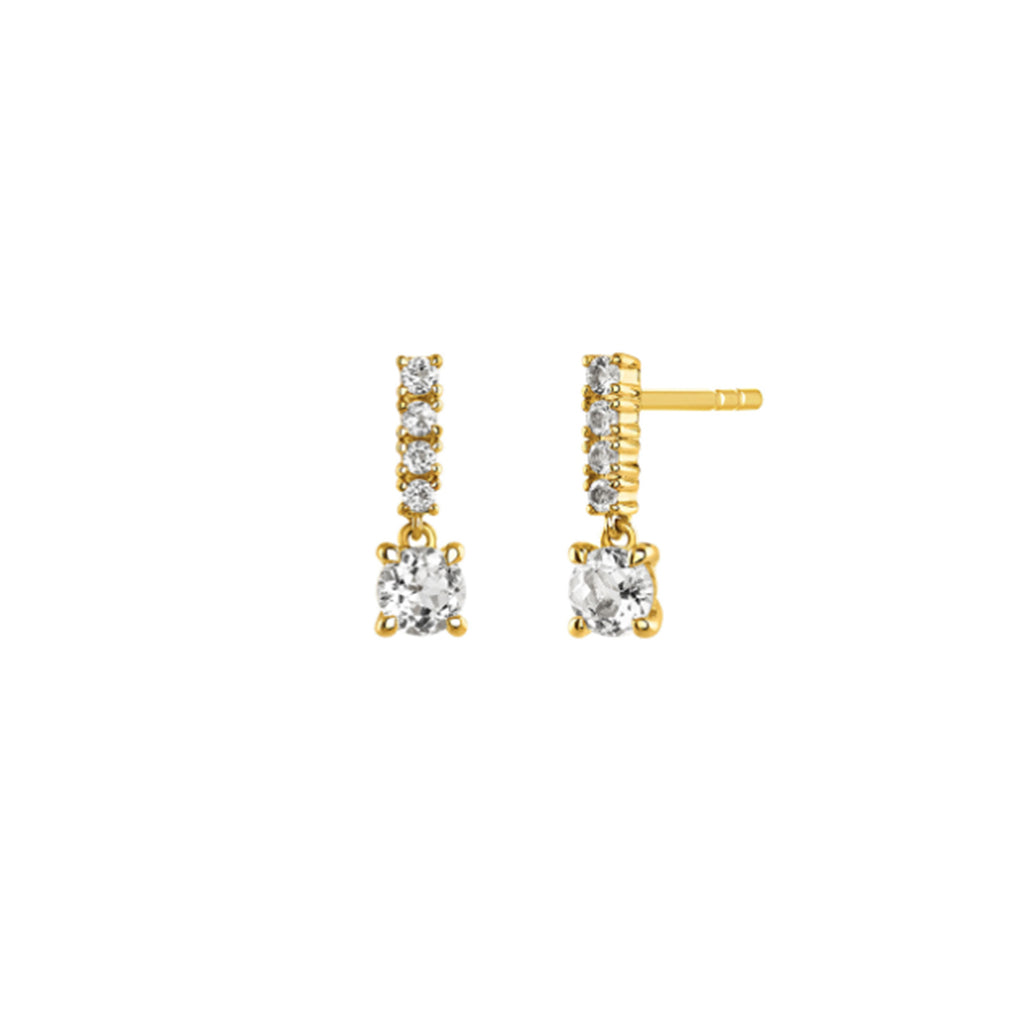 Victoria Studded Drop Earrings - Gold