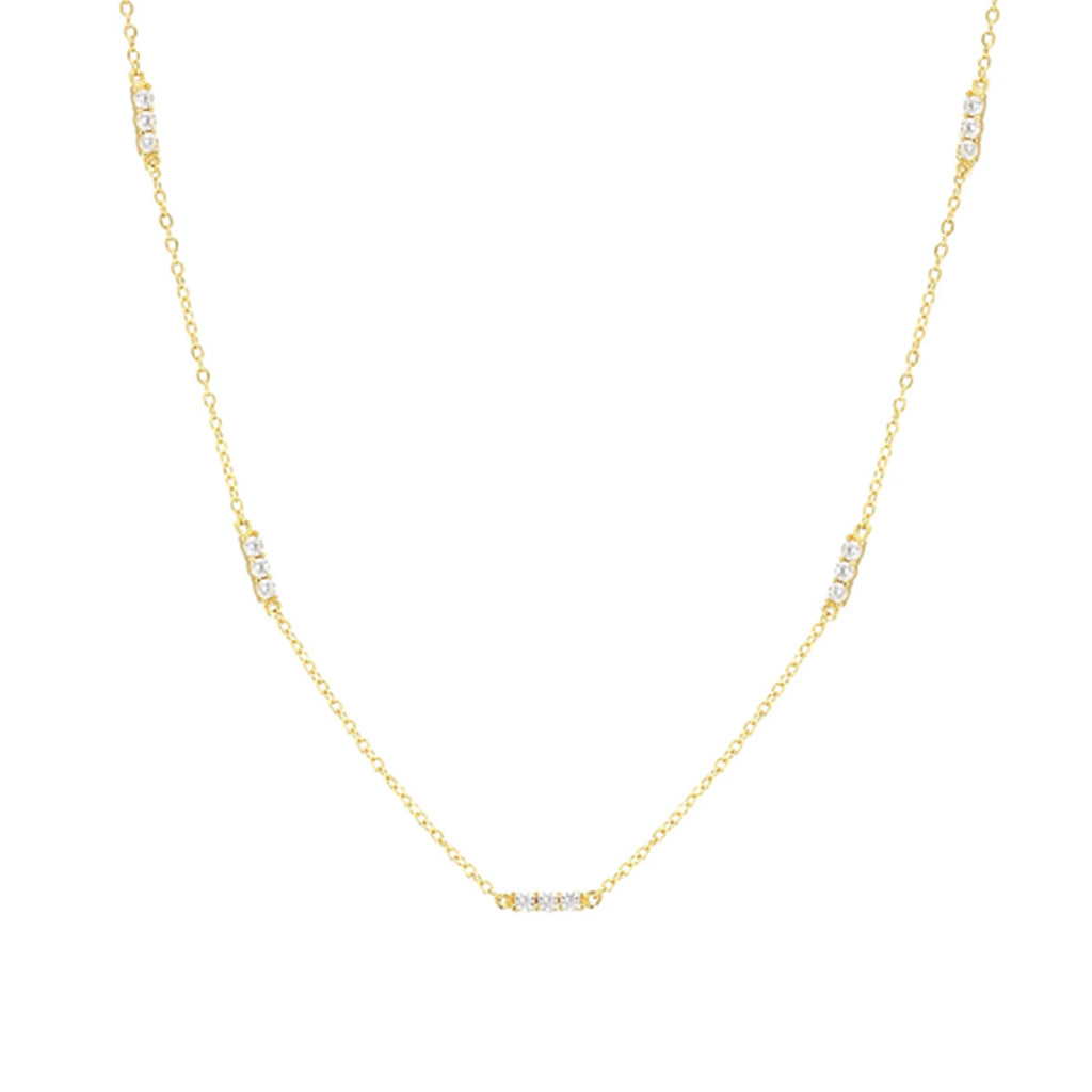 Victoria Dainty Stone Necklace Gold