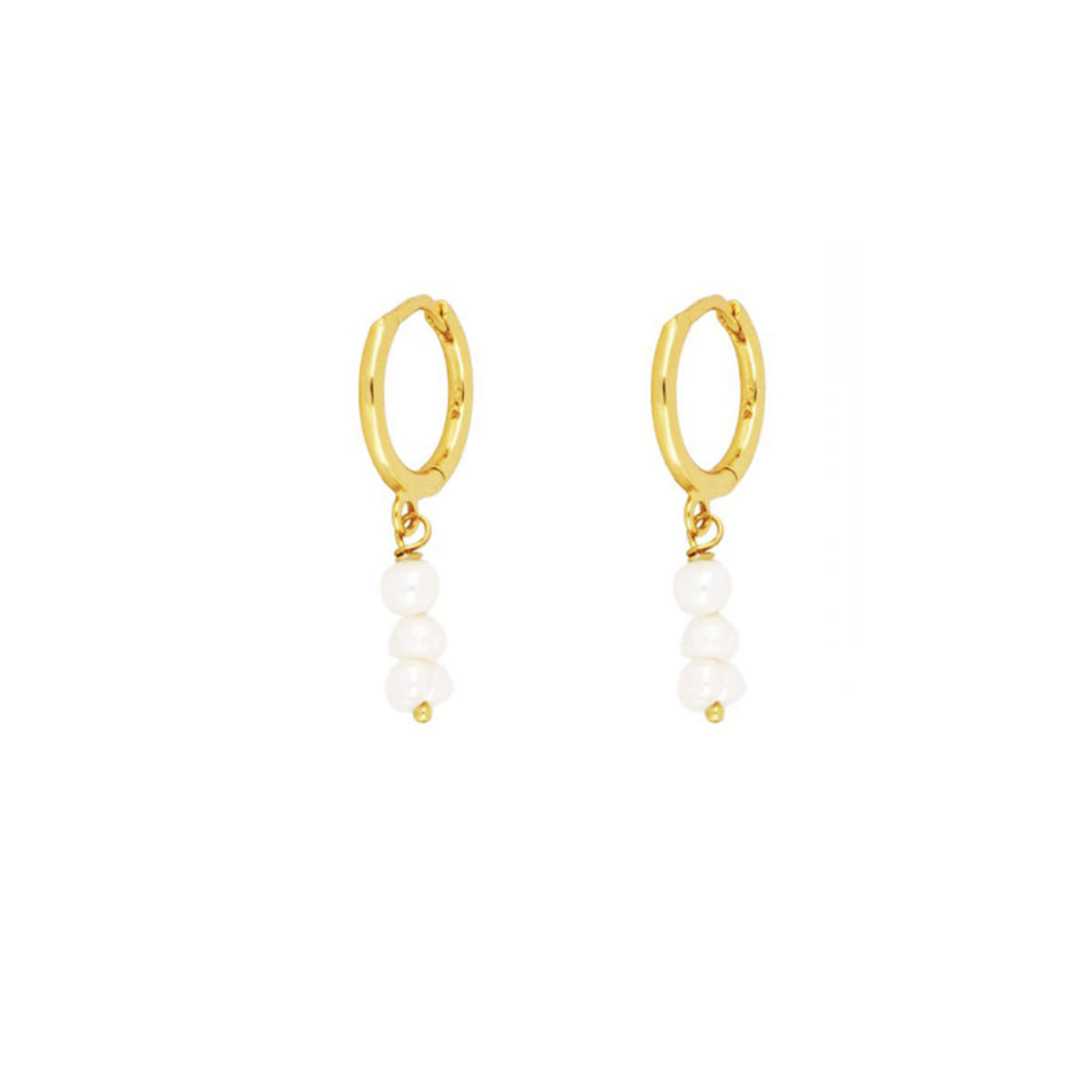 Pearl Ava Hoops - Gold