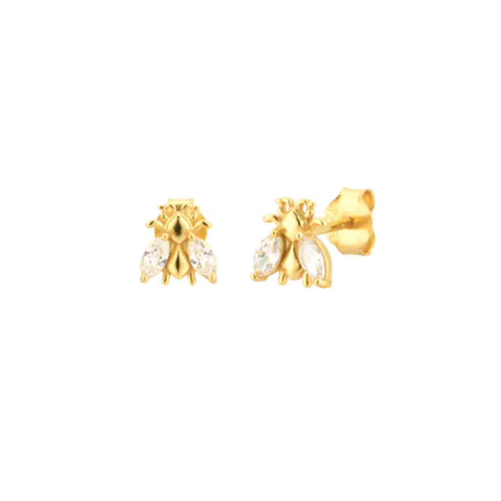 Tiny Bee BUZZ Studs - Crystal