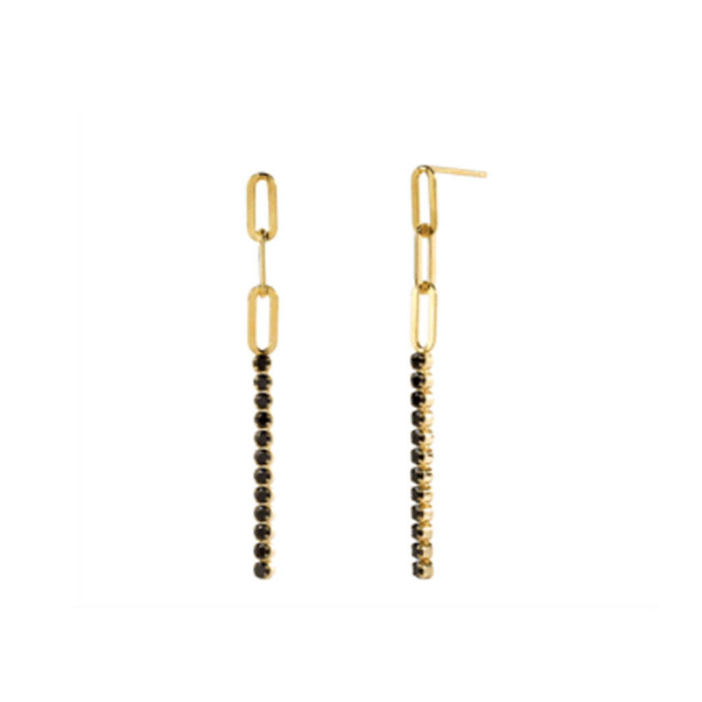 Kira Kira Black Drop Earrings - Gold
