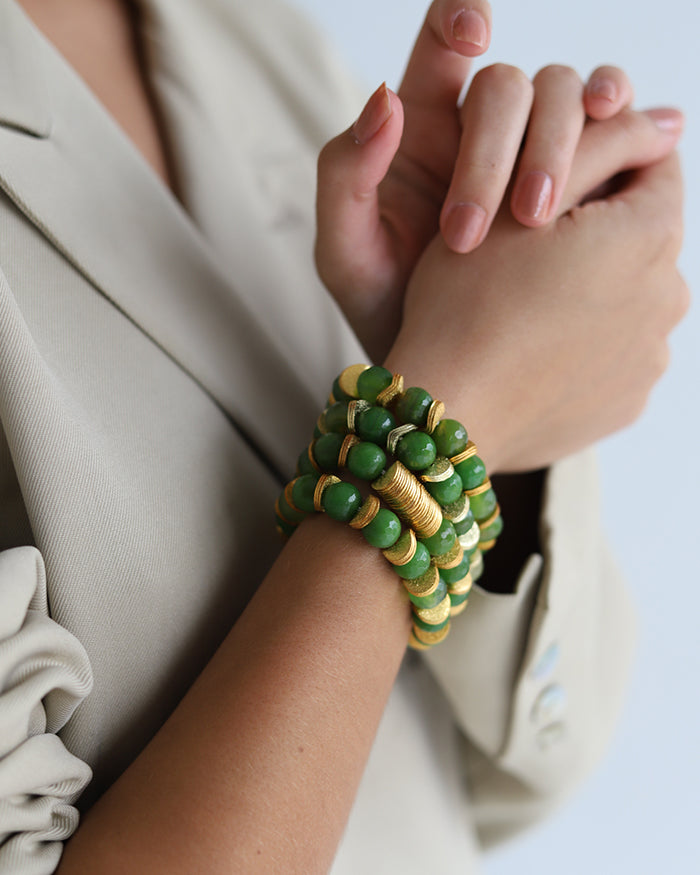 Green Jade SEMI PRECIOUS STONE WITH GOLD DISCS BRACELET