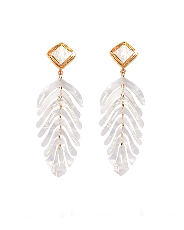 Ferngully Earrings with Pearl Stud - White