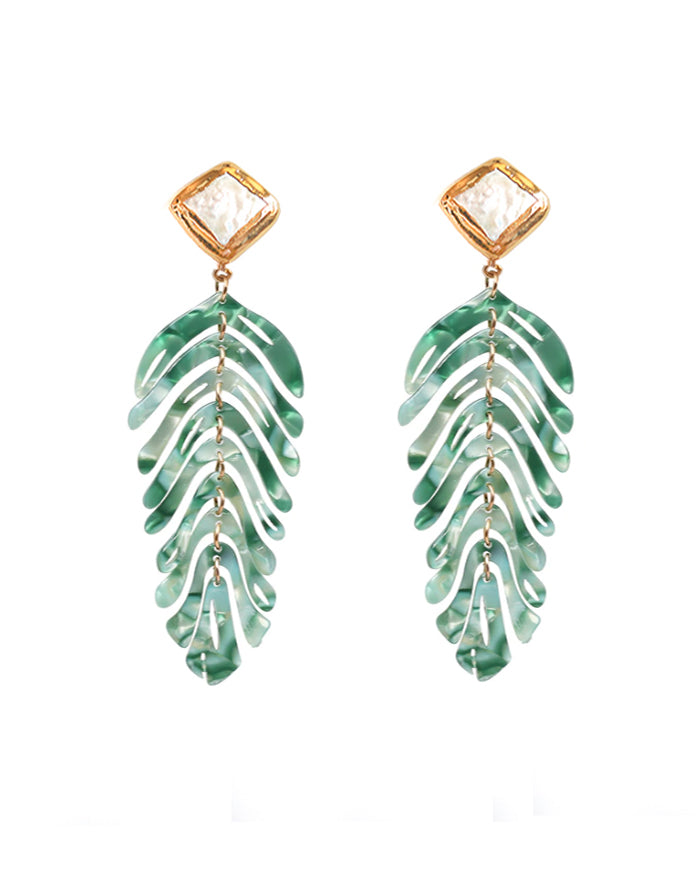 Ferngully Earrings with Pearl Stud - Green