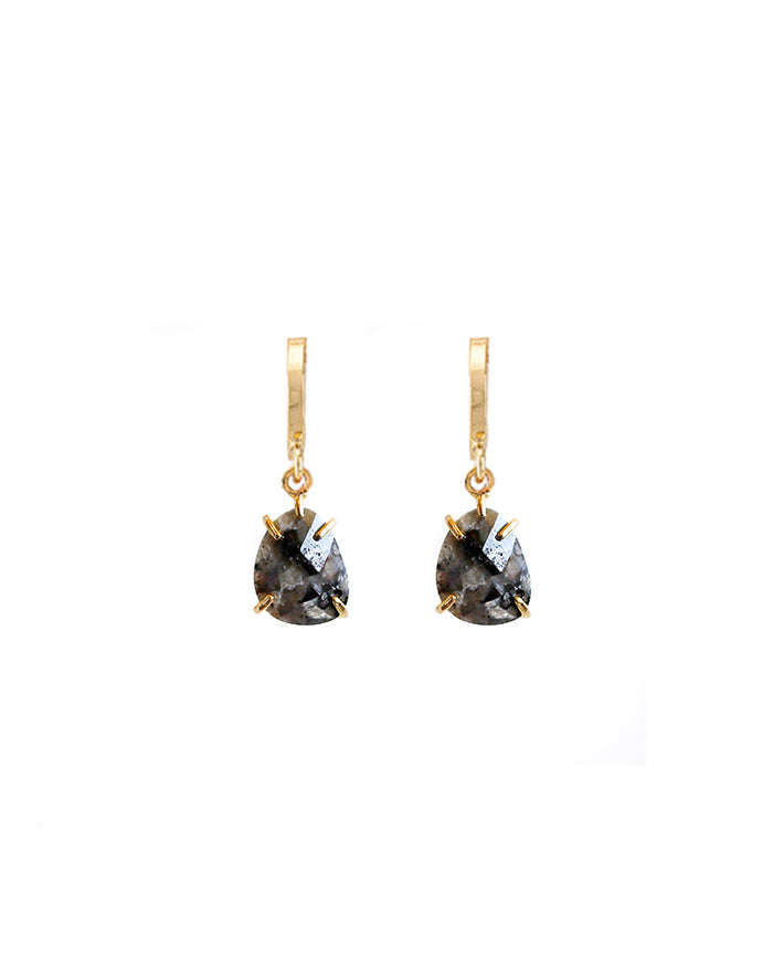 Black Garnet Drop Huggie Earrings