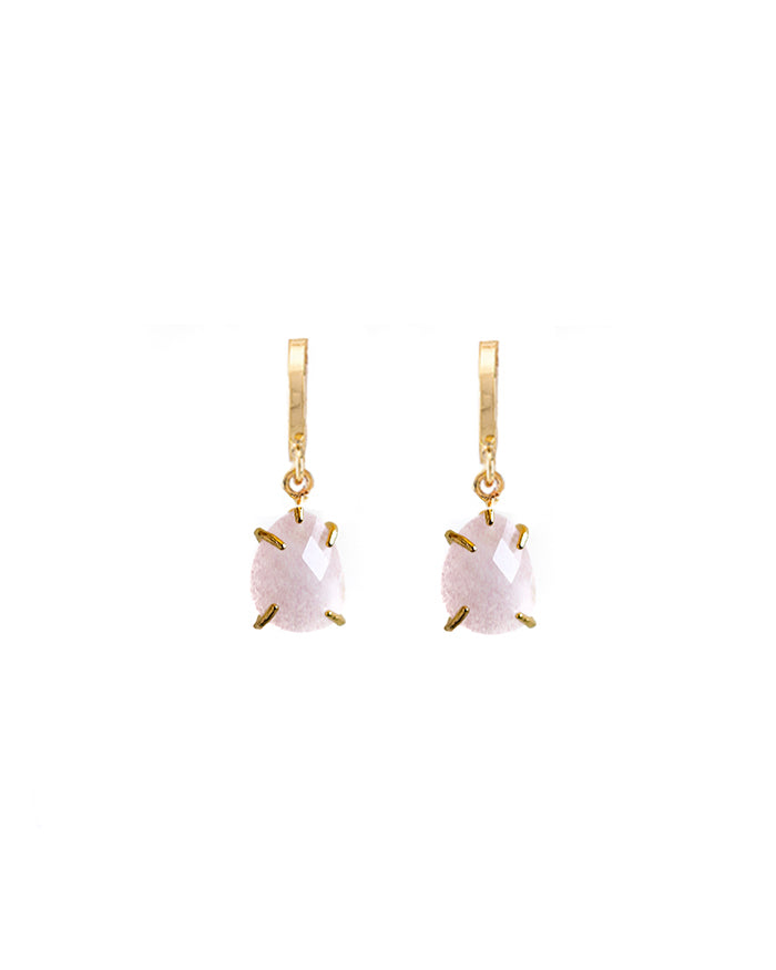 Pink Morganite Drop Huggie Earrings