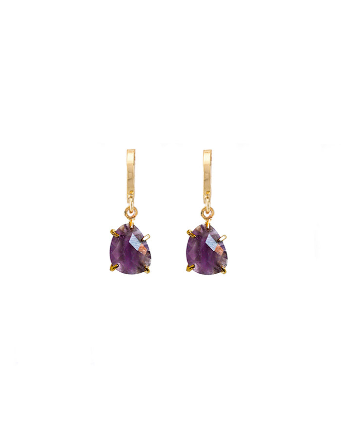 Amethyst Drop Huggie Earrings