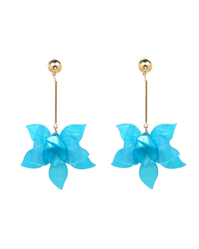 Flower Earrings - Blue