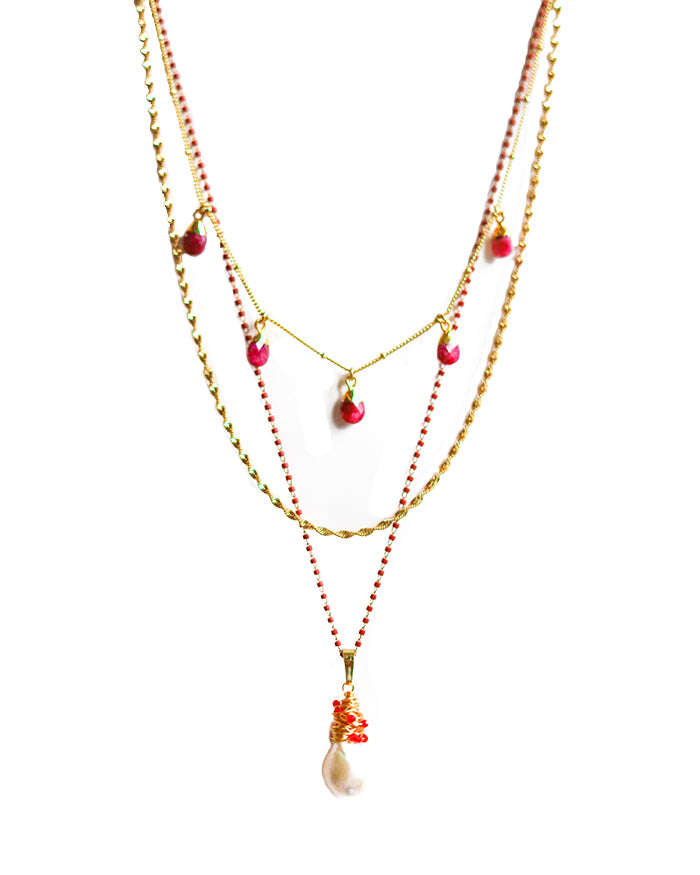 DREAMER FRESH WATER PEARL NECKLACE - PINK RHODONITE