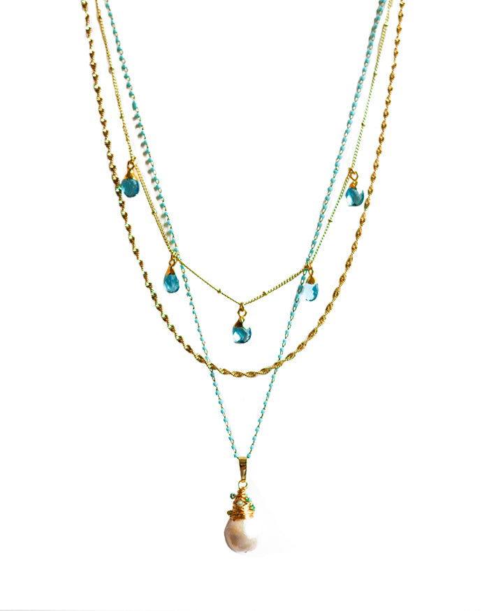 DREAMER FRESH WATER PEARL NECKLACE - AQUA STONES