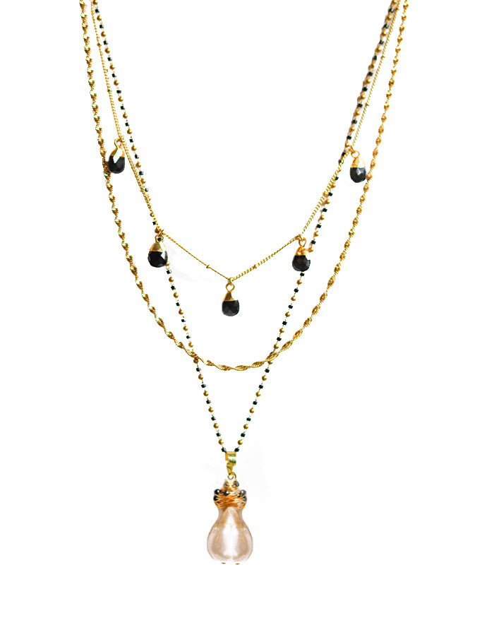 Dreamer Fresh water Pearl Necklace - Black Pearl stones
