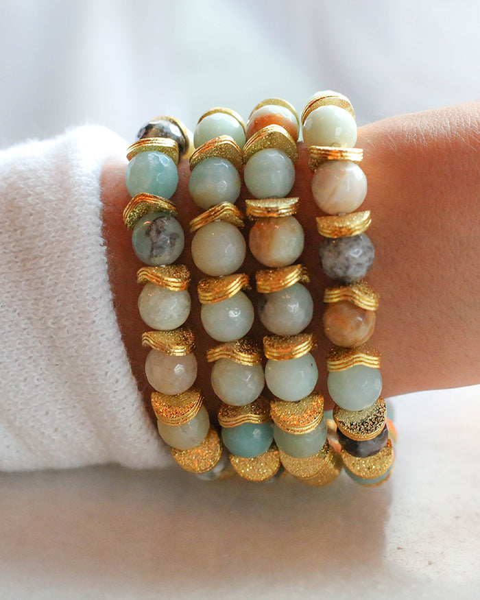Amazonite SEMI PRECIOUS STONE WITH GOLD DISCS BRACELET