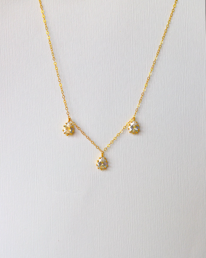 Bela Crystal Triple Drop Necklace