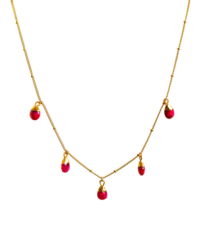 Pink Rhodonite GOLD LENA CHARM NECKLACE