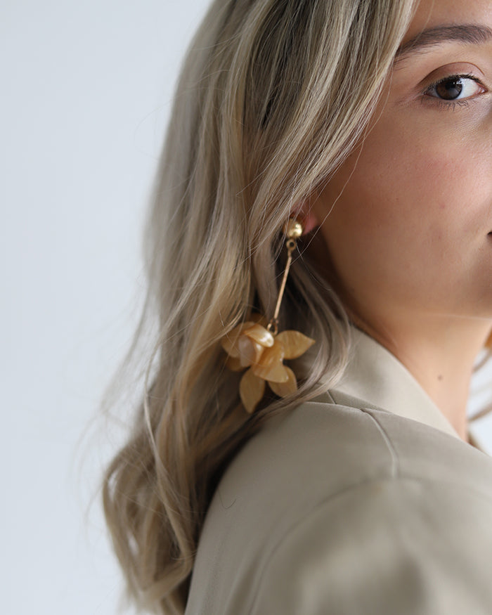 Flower Earrings - Yellow