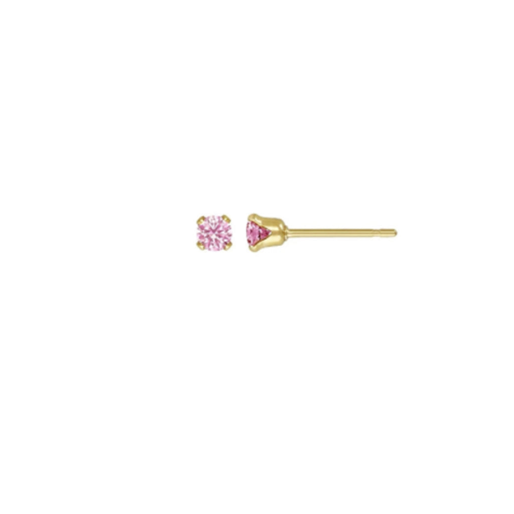 Birthstone Stud - October Pink Tourmaline