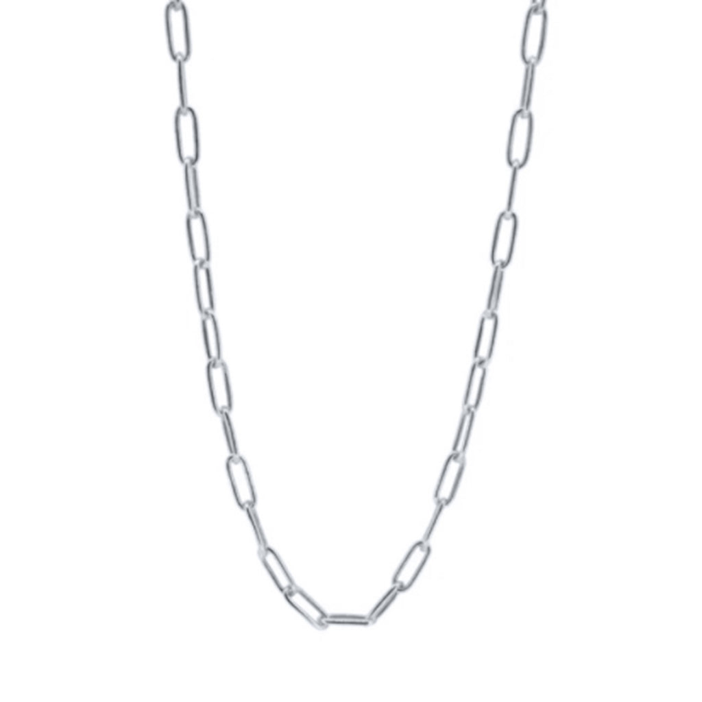 Paper clip chain necklace. Sterling silver. Silver necklace. How to layer silver necklaces. How to layer necklaces. Where to buy layering necklace. Affordable good quality necklaces.