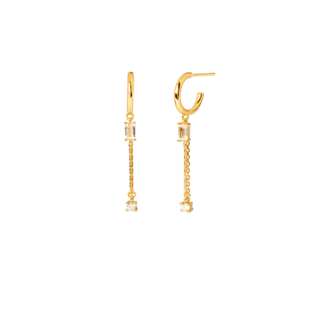 Baguette Chain Drop Earrings Gold