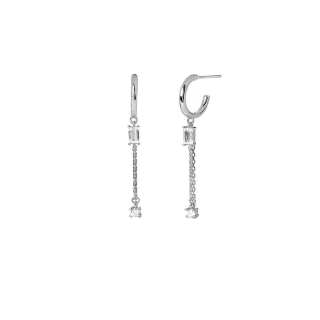 Baguette Chain Drop Earrings Silver