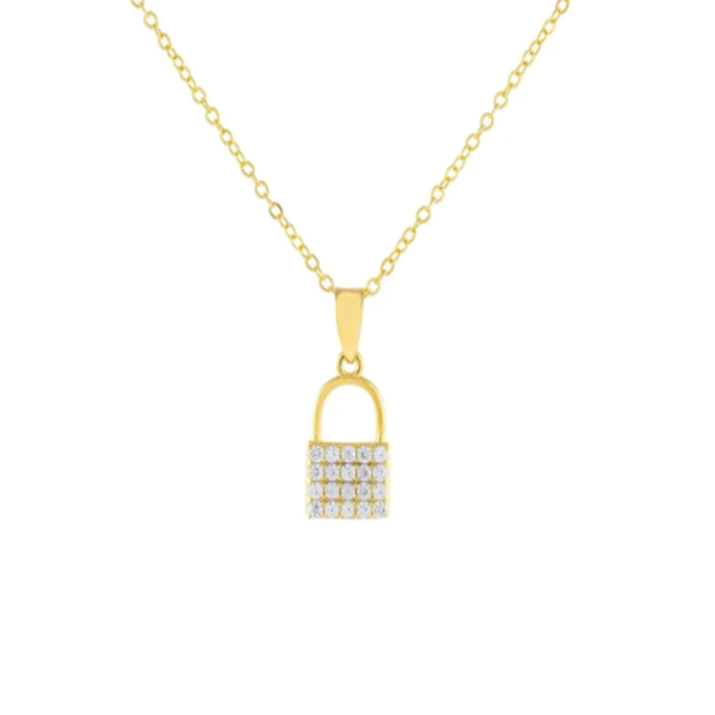 Crystal Lock Necklace - Gold