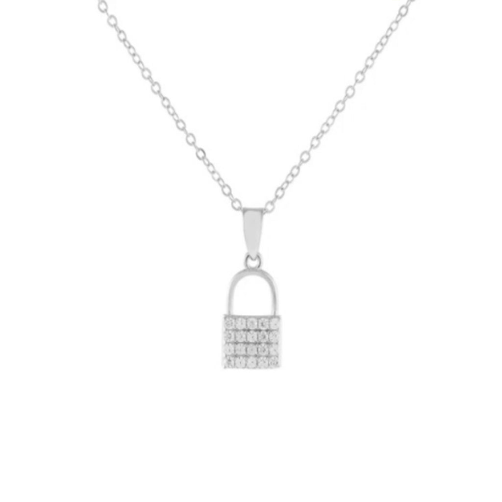 Crystal Silver Lock Necklace