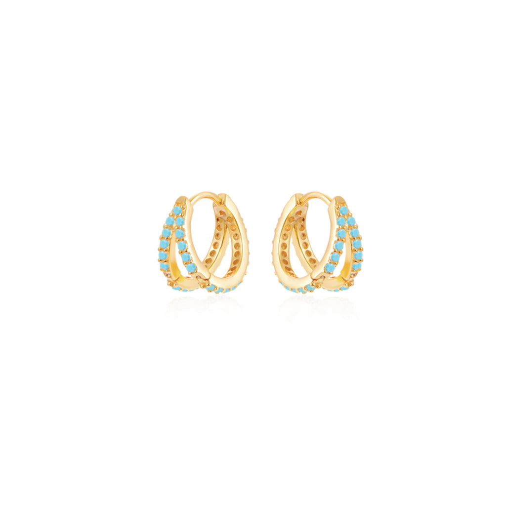 Turquoise Double Hoop - Gold