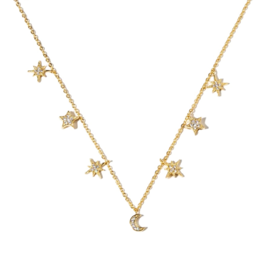 Grace Star Moon Necklace - Gold