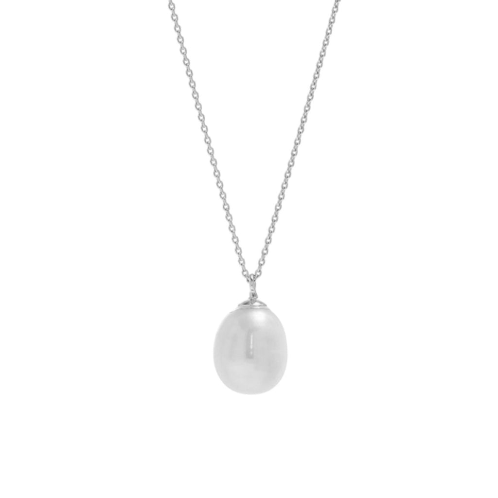 Bella Mother of Pearl Drop Necklace silver