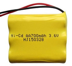 3N700AACW : 3.6 volt 700mAh AA NiCd battery pack with wire leads