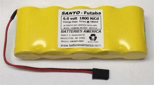 5KR1800SCEW : 6.0 volt 1800mAh Sub-C rechargeable NiCd