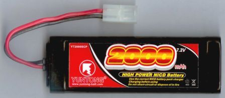 YT2000SCP : 7.2 volt 2000mAh High Power Rechargeable Ni-Cd Battery Pack