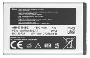 AB663450BZ : 3.7v 1300mAh battery for Samsung Convoy 3 SCH-U680
