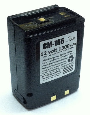 CM-166: 12 volt 1300mAh rechargeable NiMH battery for ICOM IC-A22 IC-A3