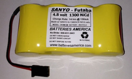 4N1300SCRW: 4.8v 1300mAh NiCd battery pack