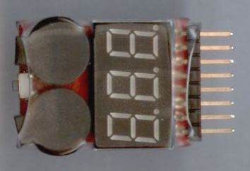 CVC8S - Voltage Checker for Li-PO, Li-ION, Li-FE batteries with warning alarm