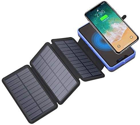 PB-20000-Qi: Solar Power Bank Battery Charger, Qi Wireless, 20,000mAh