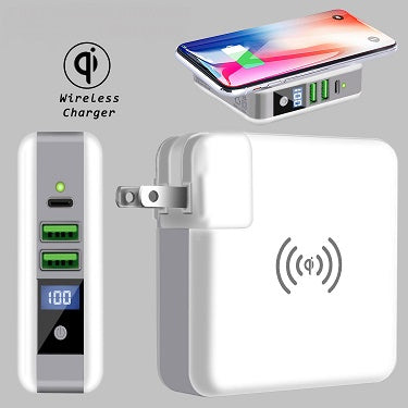 Qi-PowerBank : Wireless Charger, AC-USB charger, PowerBank all-in-one