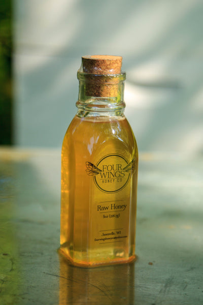 Raw Clover Honey (8oz-16oz Old Fashioned Muth Glass Jar with Cork)