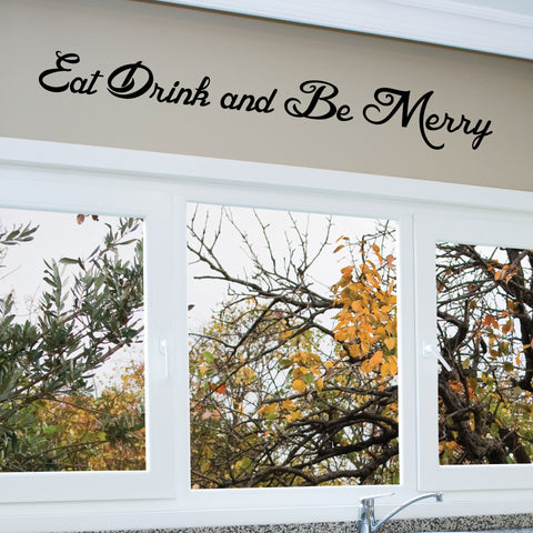 Eat Drink and Be Merry Wall Decal, 0006, Kitchen Wall Decals, Food Decals