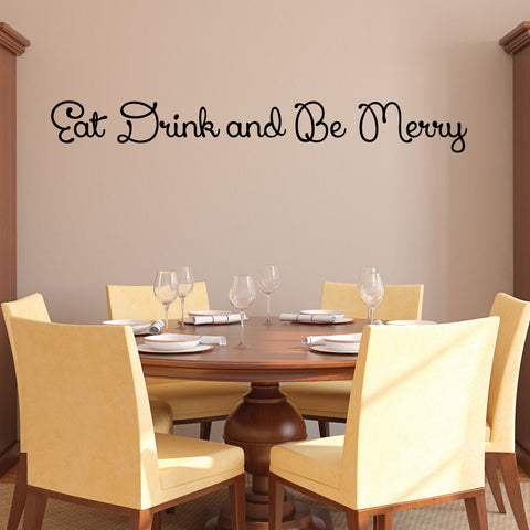 Eat Drink and Be Merry Wall Decal, 0012, Kitchen Wall Decals, Food Decals