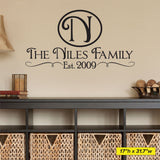 Family Name Wall Decal, 0016, Year Established, Family Name Wall Lettering, Personalized