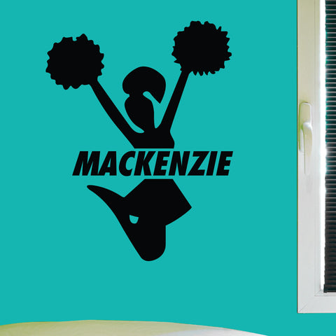 Custom Cheerleading Wall Decal, 0057, Personalized Cheerleader Wall Decal