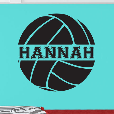 Custom Volleyball Wall Decal, 0058, Personalized Volleyball Wall Decal, Custom Name