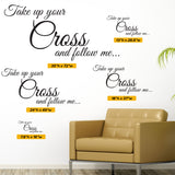 Take Up Your Cross and Follow Me Wall Decal, 0061, Matthew 16:24-26 ESV, bible verse decal, cross decal, christian wall decal, church