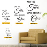 And The Two Shall Become One Wedding Decal, 0102, Wedding Ideas, Wall Art, Wall Decor, Wall Sticker, Wedding