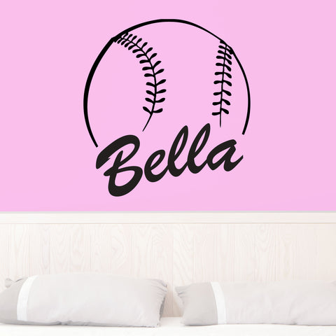 Custom Softball Name Wall Decal, 0125, Personalized Softball Name Wall Decal, Girls Softball, Softball Custom Name